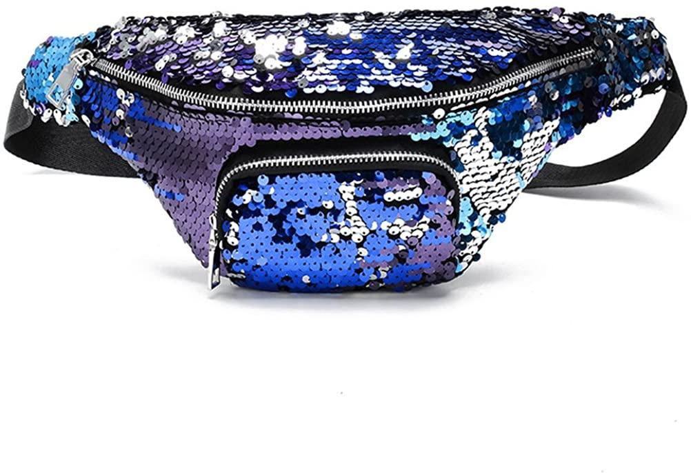 OULII Fashion Sequin Waist Bag Zipper Dacron Wallet Mobile Phone Bag Fanny Pack Cross-body Bag for Women Girls (Blue)