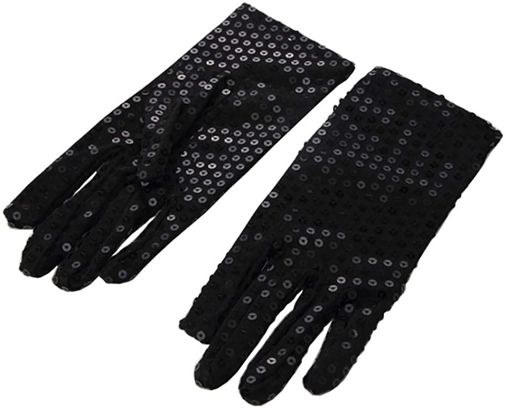ONFUNU Adult Sequin Gloves Costume Accessory Michael Jackson Dance Halloween Cosplay Party