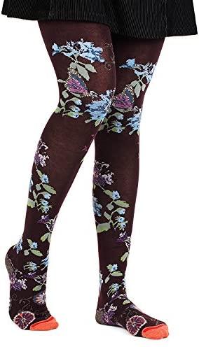 Fil de Jour France Women's Tights, Purple Fantasy Flowers, XL
