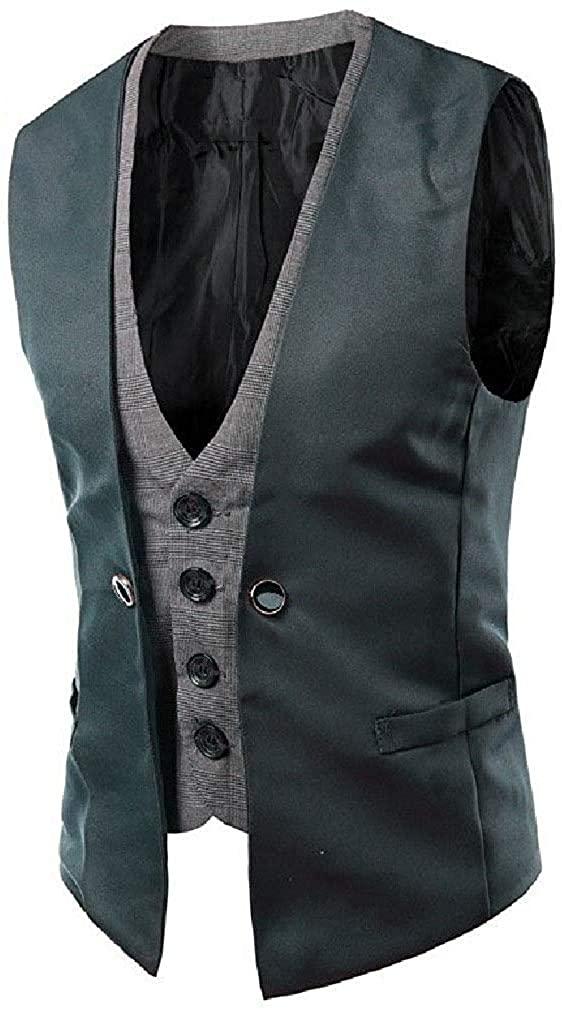 Men Thin Fit Sleeveless Parka Jackets Jacket Business Vests,Gray,Medium