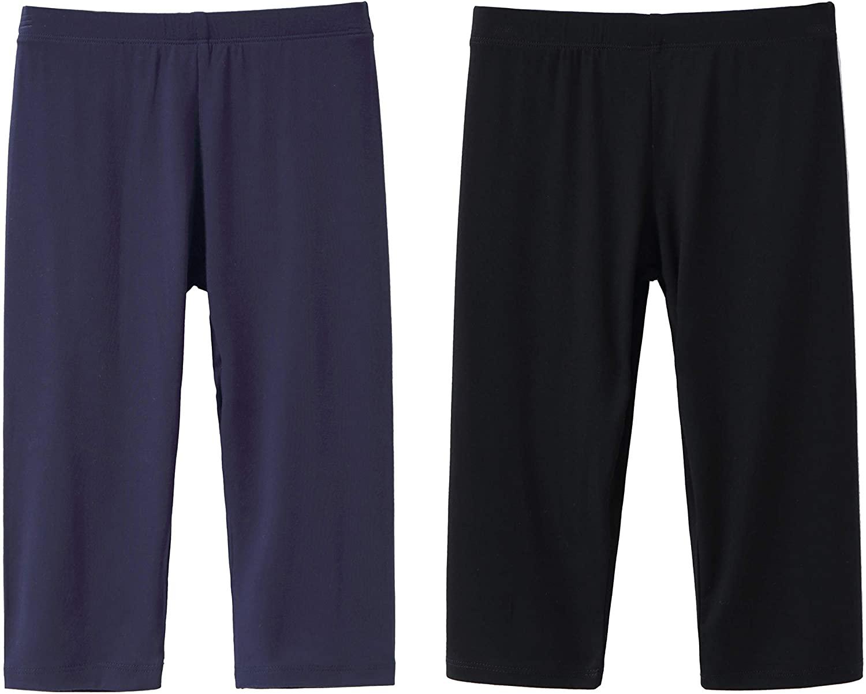 IRELIA 2 Pack Modal Girls Leggings Capri Solid Pant for School/Holiday