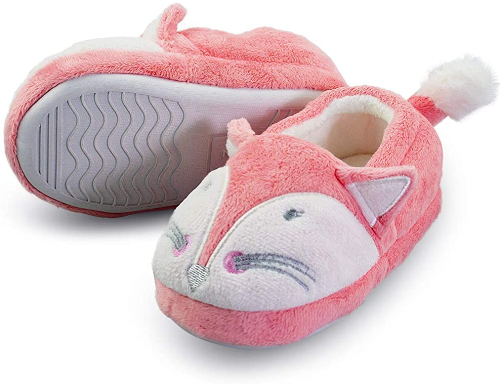 LA PLAGE Girl Boy's Animal Slippers House Cartoon Warm Soft Bedroom House Shoes for Kid