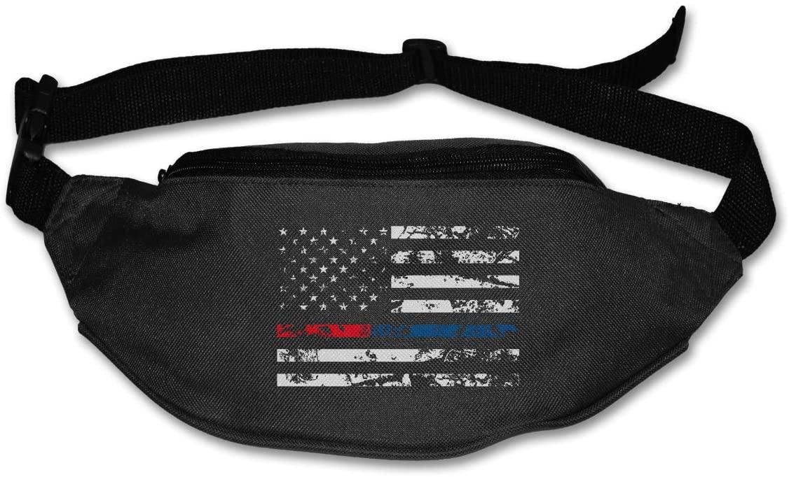 SWEET-YZ Unisex Waist Pack Retro Blue Thin Line Flag Flat Fanny Bag Pack for Sport Running