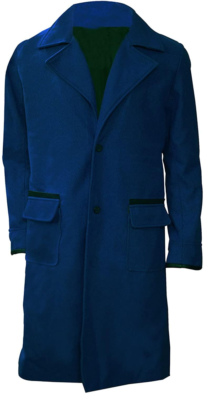 III-Fashions Men's Wizard Eddie Redmayne Fantastic Blue Wool Long Trench Coat