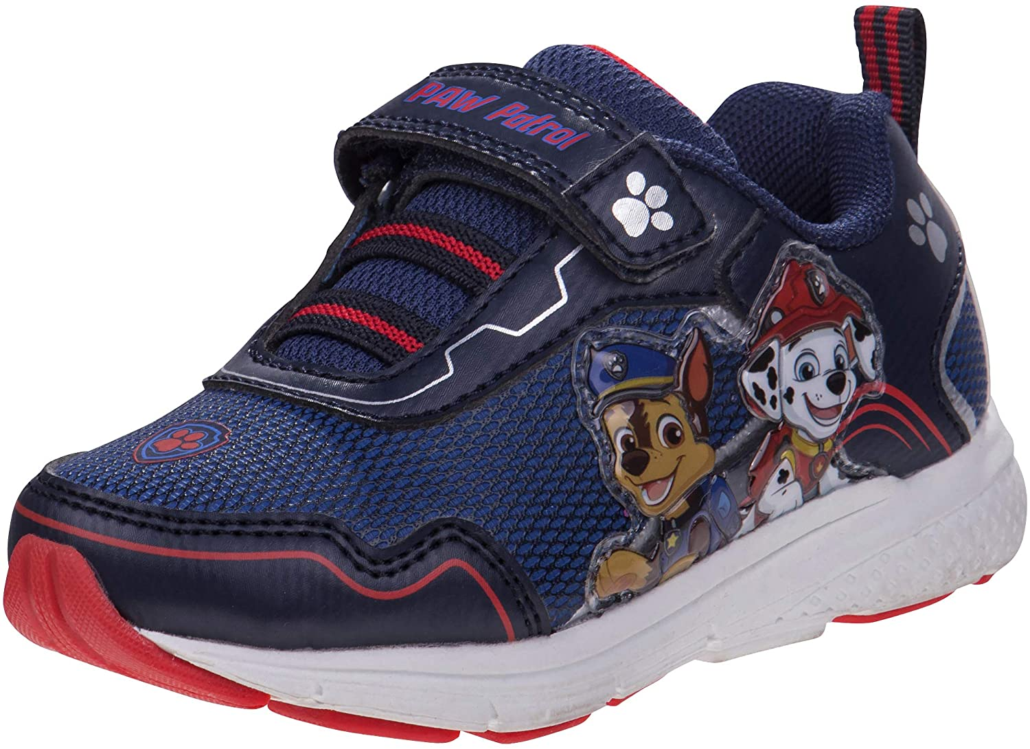 Josmo Boys Paw Patrol Lightweight Sneaker with Easy Strap Closure, Navy/Red Light Up, Size 8 Toddler