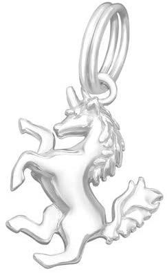 Unicorn Charms with Split Ring 925 Sterling Silver