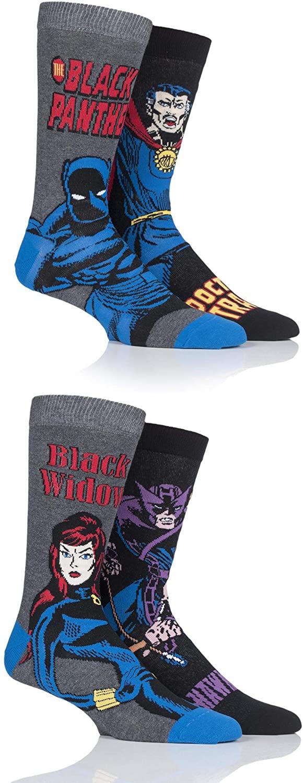 SockShop Mens Marvel Hawkeye, Black Widow, Black Panther and Doctor Strange Cotton Socks Pack of 4