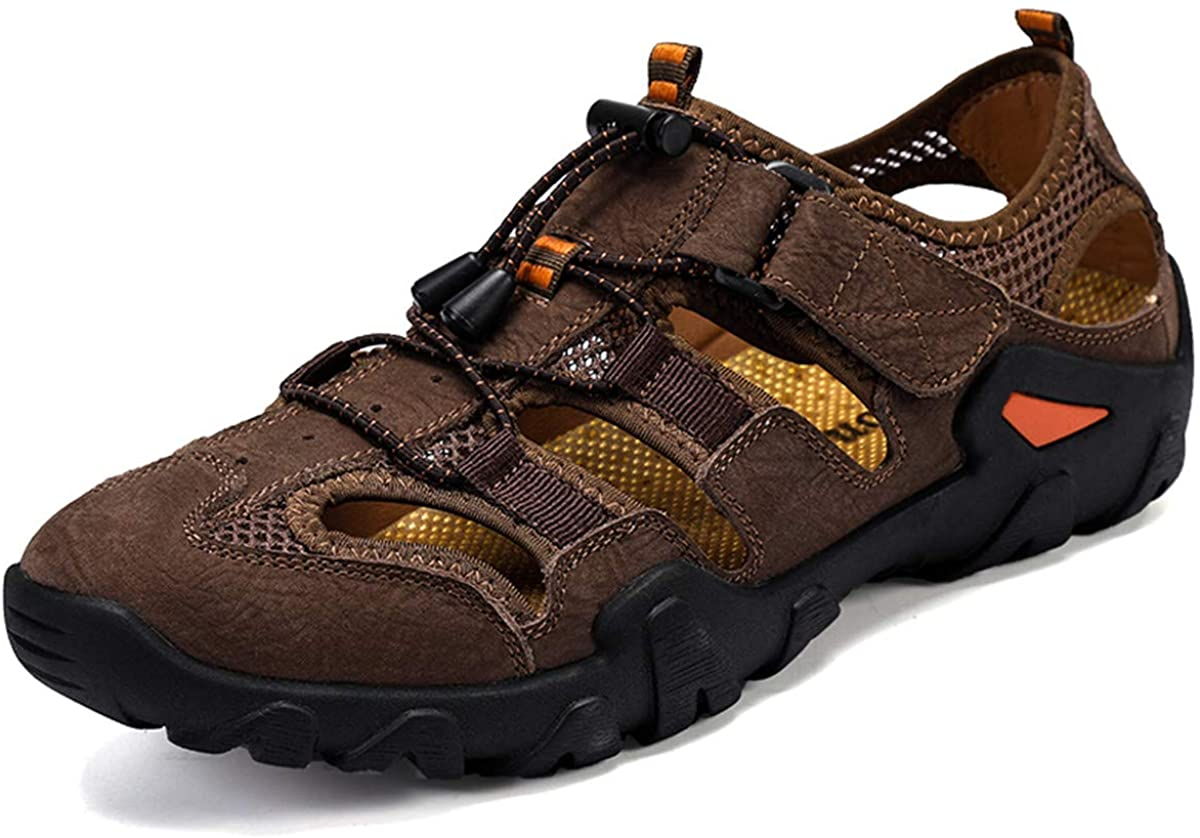 ChicWind Men's Leather Fisherman Sandals Closed Toe Outdoor Hiking Athletic Sport Water Shoes