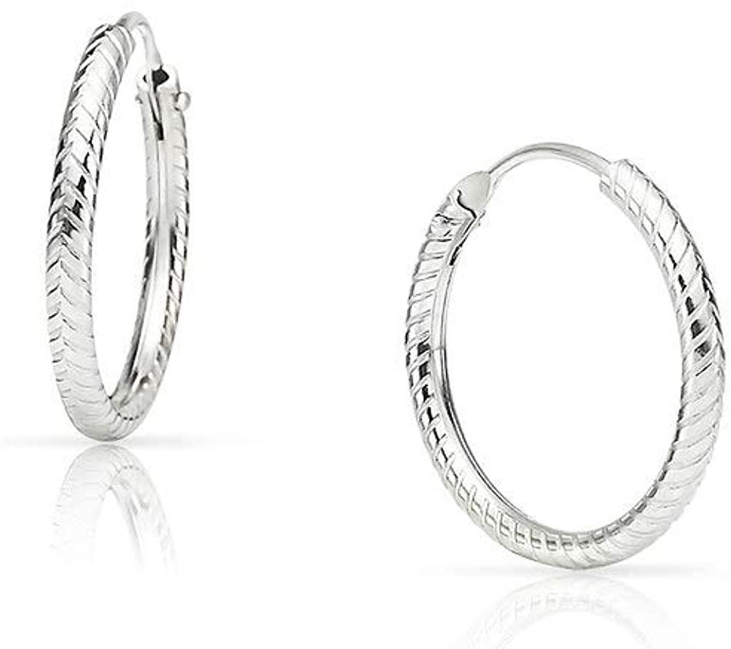 SOLIDSILVER - Sterling Silver Snake Textured Endless Infinity Hoop Earrings 10-60mm