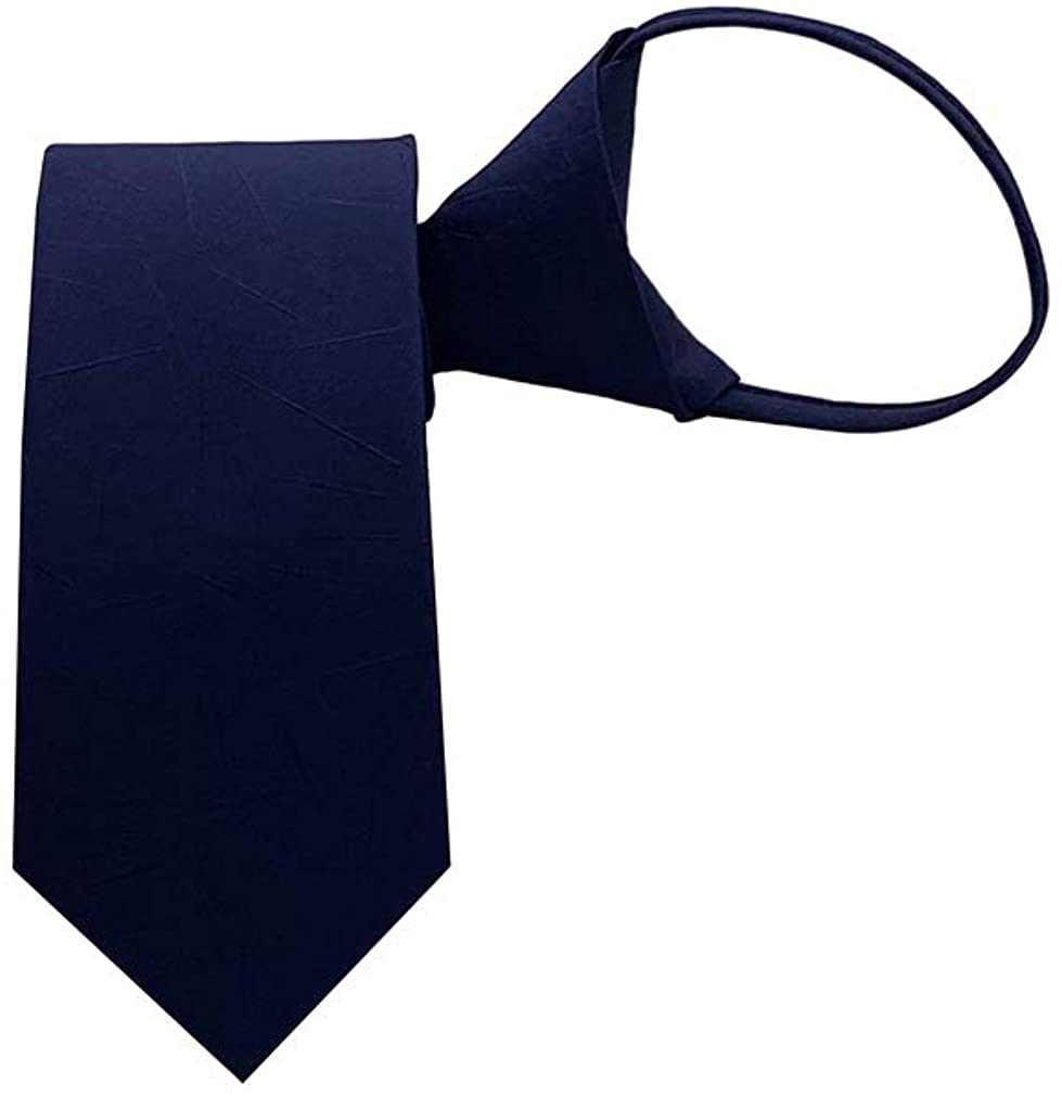 BESMODZ Men's Classic Silk Zipper Ties Wedding Business Pre-tied Printed Necktie