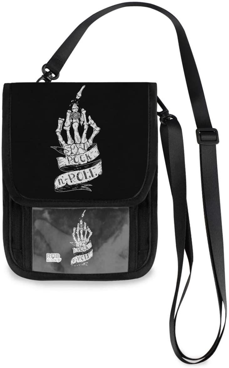 Travel Wallet Neck Pouch - Skeleton Hand Passport Holder with RFID Blocking for Men Women Travel Purse