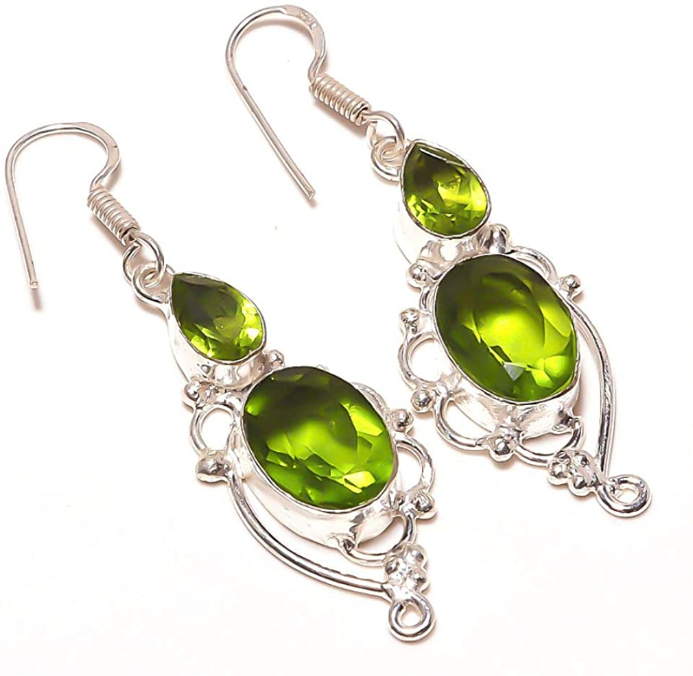 Gift For Girls! Green Amethyst Quartz HANDMADE Jewelry Sterling Silver Plated EARRING 2.25