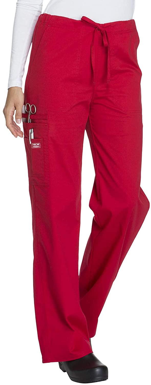 Cherokee Workwear Core Stretch Unisex Drawstring Cargo Scrub Pant, 3XL, Red