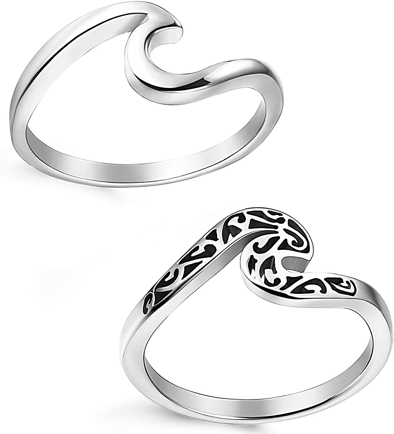 LOLIAS 2 Pcs Stainless Steel Beach Rings for Women Girls Ocean Wave Ring,Size 5-11