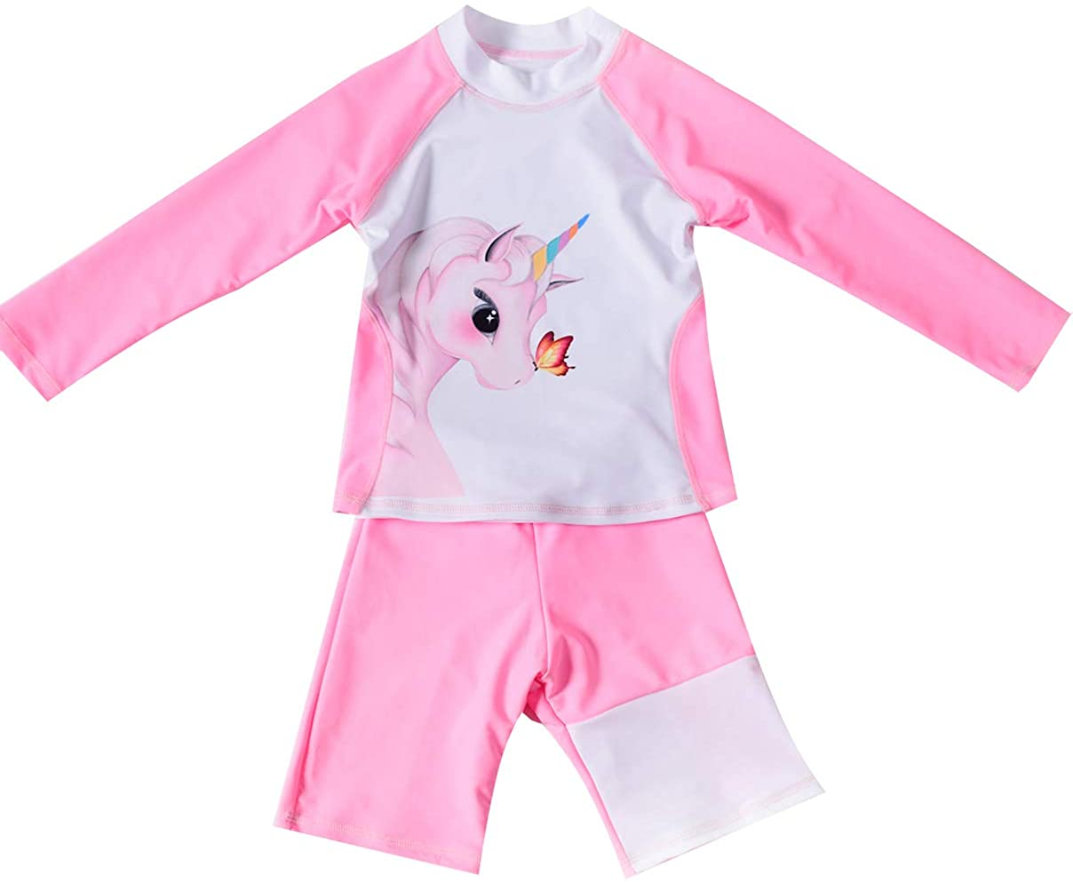 BTPEIHTD Girls Unicorn Two Piece Rash Guard Swimsuits Long Sleeve Tankini Swimwear