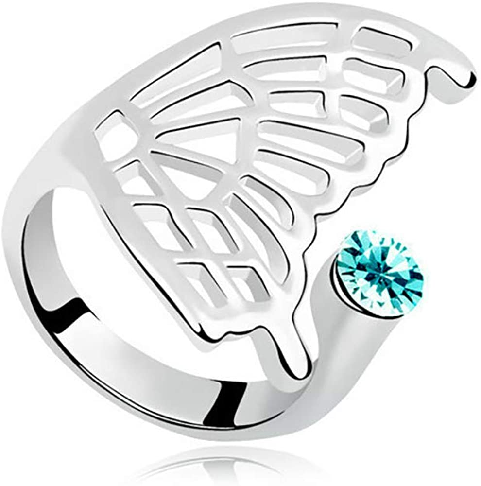 MIXIA Supernatural Protection Angel Wing Adjustable Love Ring Women Girl Charm Stave Wide Finger Ring Jewelry