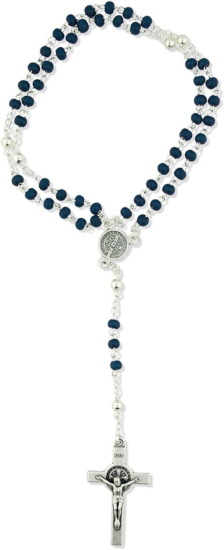 Catholic Saint Benedict Rosary with Wood Beads and Saint Benedict Crucifix