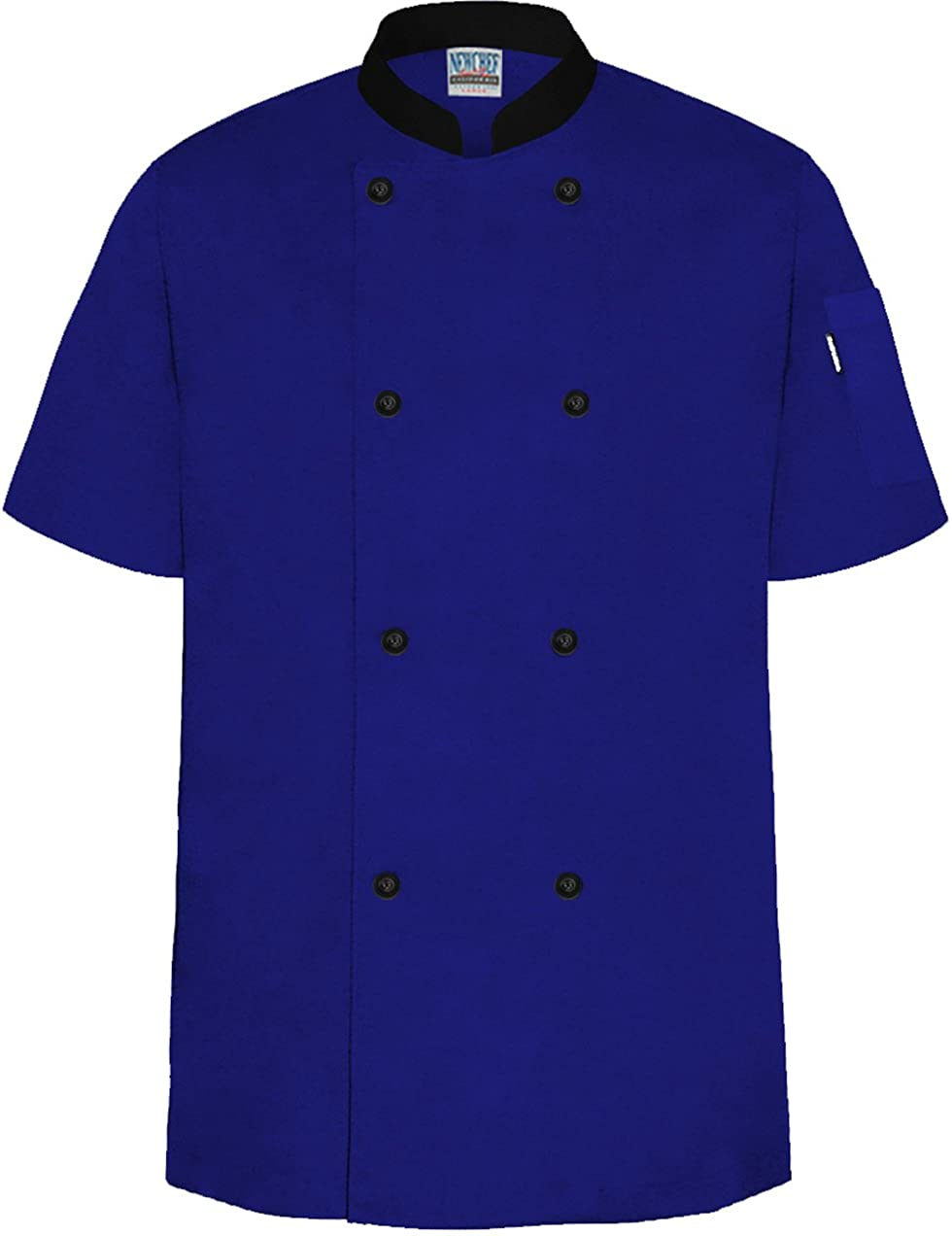 Newchef Fashion Royal Blue/Black Chef Jacket Contrast Collar Short Sleeves