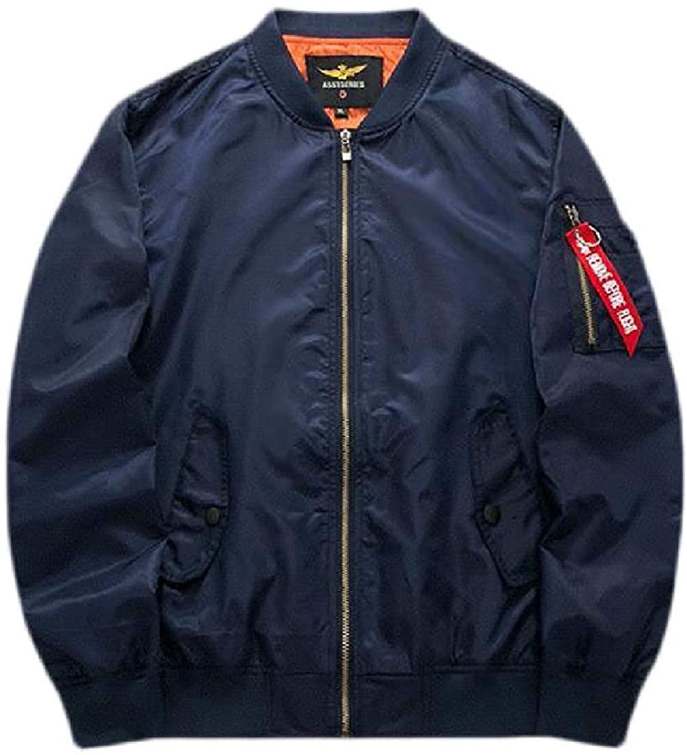 Mens Stand Collar Baseball Ma-1 Flight Zip-Up Bomber Fashion Jacket