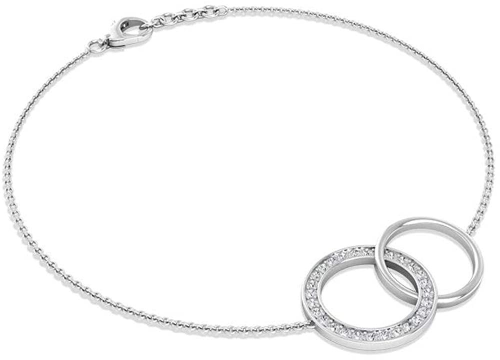 0.21 Carat Pave IGI Certified Diamond Circle Bracelet, Solid 14k Gold Open Circle Interlocking Bracelets, Minimal Stackable Chain Charm Bracelet Gifts