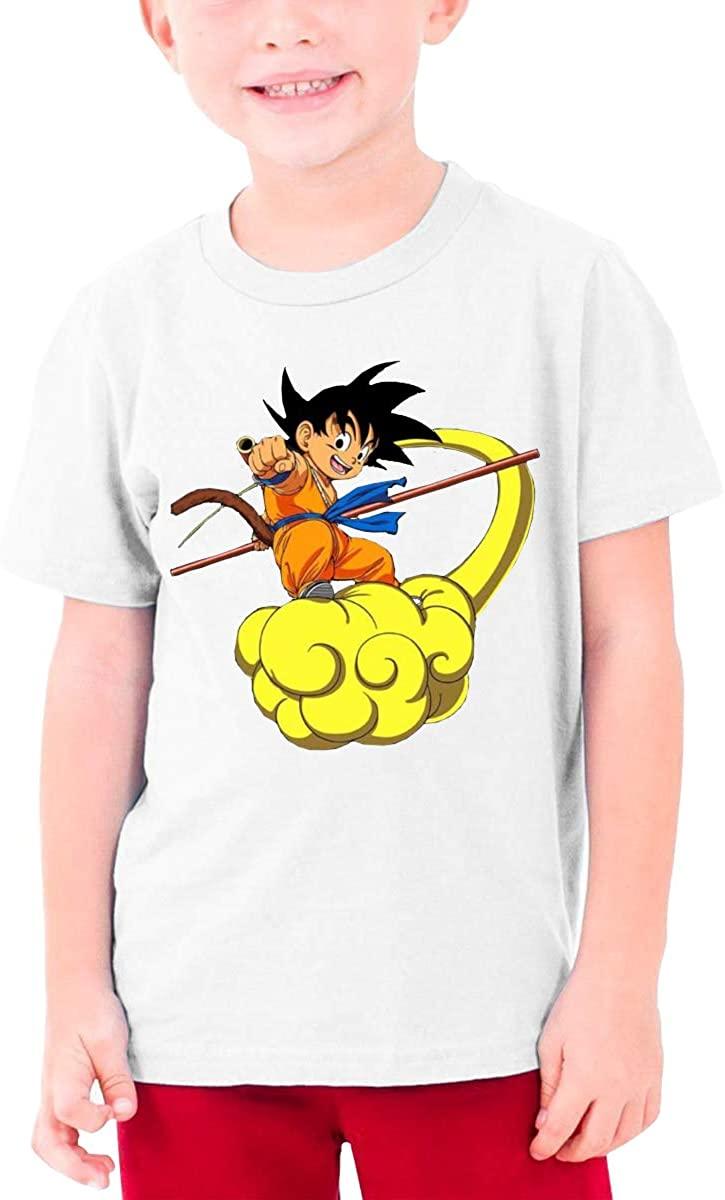Boys and Girls Teens Short Sleeve T-Shirt Dragon Ball Z Goku Generous Eye-Catching Style White