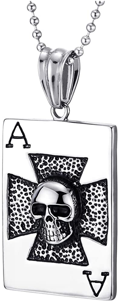 COOLSTEELANDBEYOND Mens Stainless Steel Ace Card Poker Pendant Necklace with Skull and Cross, 30 inches Ball Chain