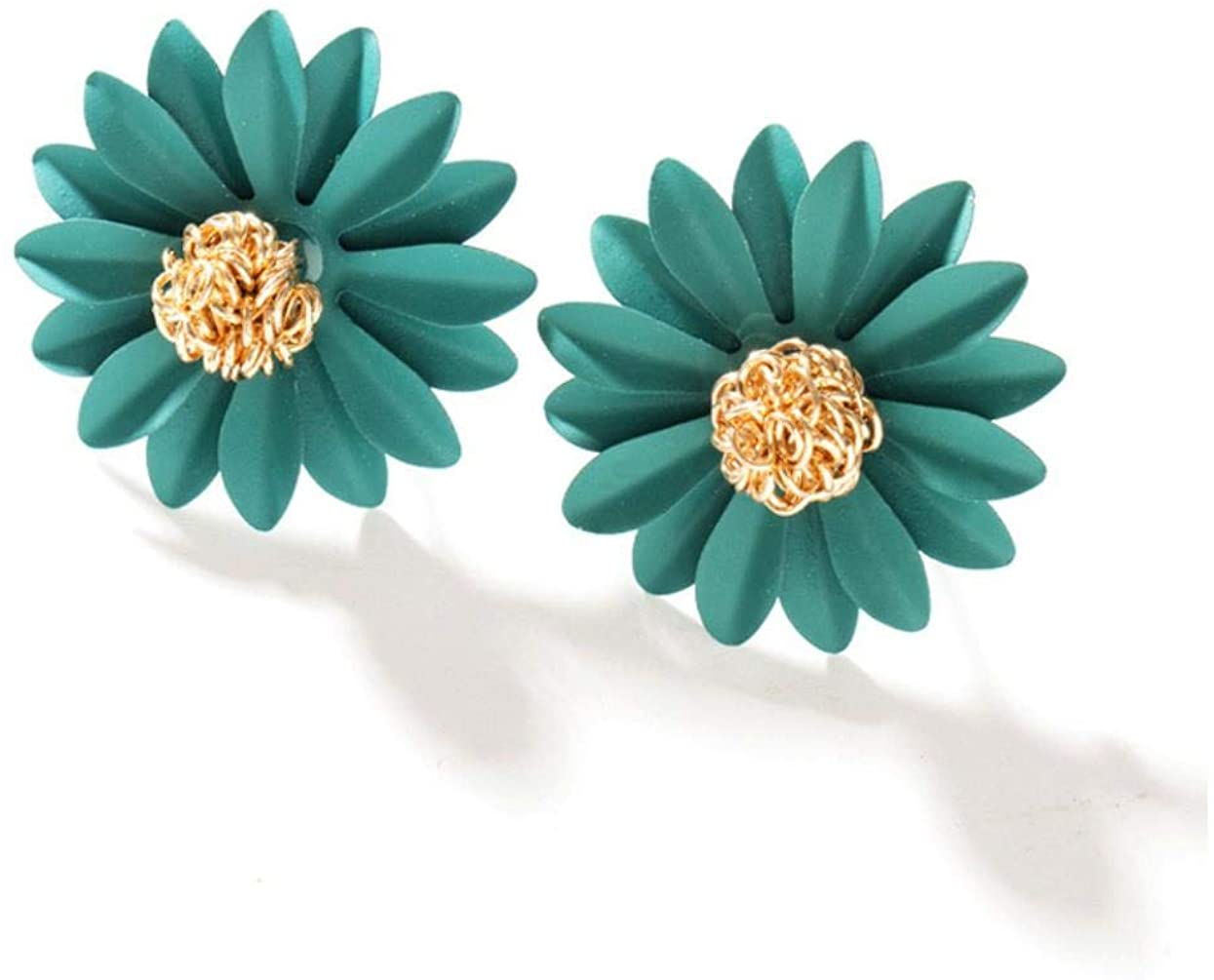 Bohemian gold flower bud earrings, stylish metallic matte earrings with large floral earrings for female wedding jewelry girls