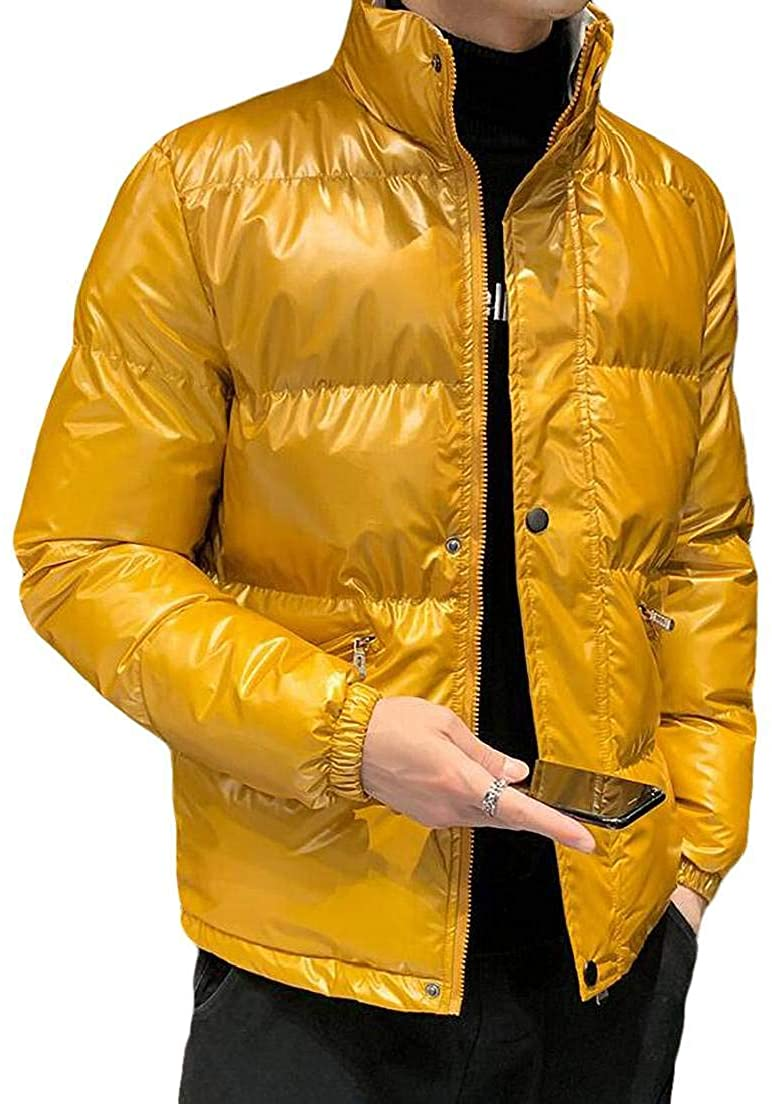 CRYYU Men Metallic Quilted Padded Stand Collar Full-Zip Outerwear Down Jacket