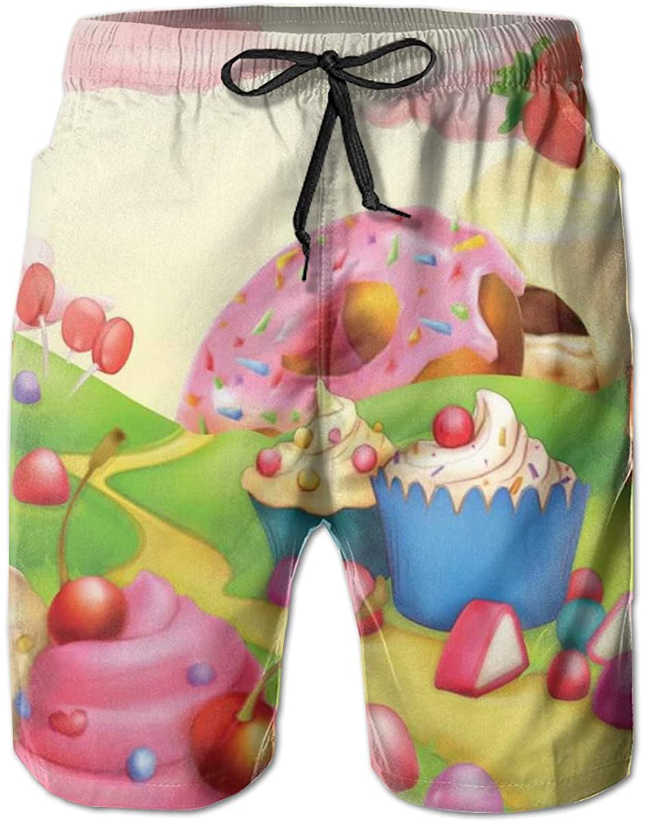 Men's Swim Trunks Quick Dry Beach Shorts Yummy Donuts Sweet Land Cupcakes Ice Cream Cotton Candy Clouds Kids Nursery Design M