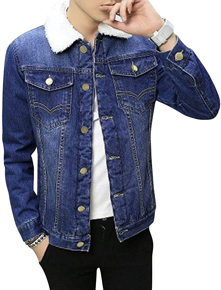 HUPOO Men's Turn Collar Embroidered Buttons Front Sherpa Lined Denim Jean Coats Jackets