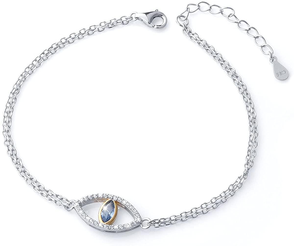 925 Sterling Silver Blue Evil Eye Double Strand Bracelet Necklace Stud Earrings Jewelry for Women Girls Ladies