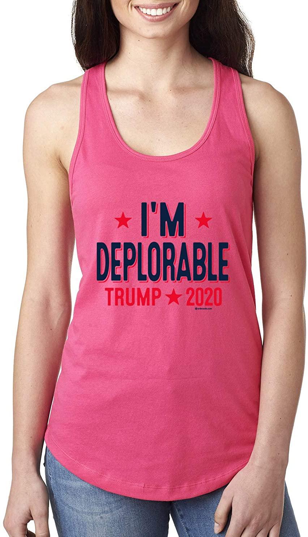I'm Deplorable President Trump 2020 MAGA Supporter   Womens Political Jersey Racerback Tank Top