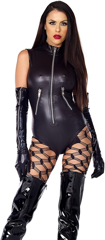 Forplay Women's Sleeveless Zipfront Faux Leather Bodysuit W/Pocket Detail
