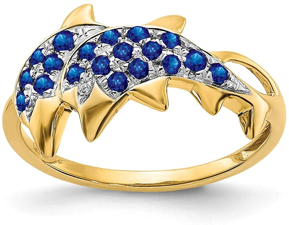 Real 14kt Gold w/Rhodium Diamond & Sapphire Polished Dolphins Ring S:7