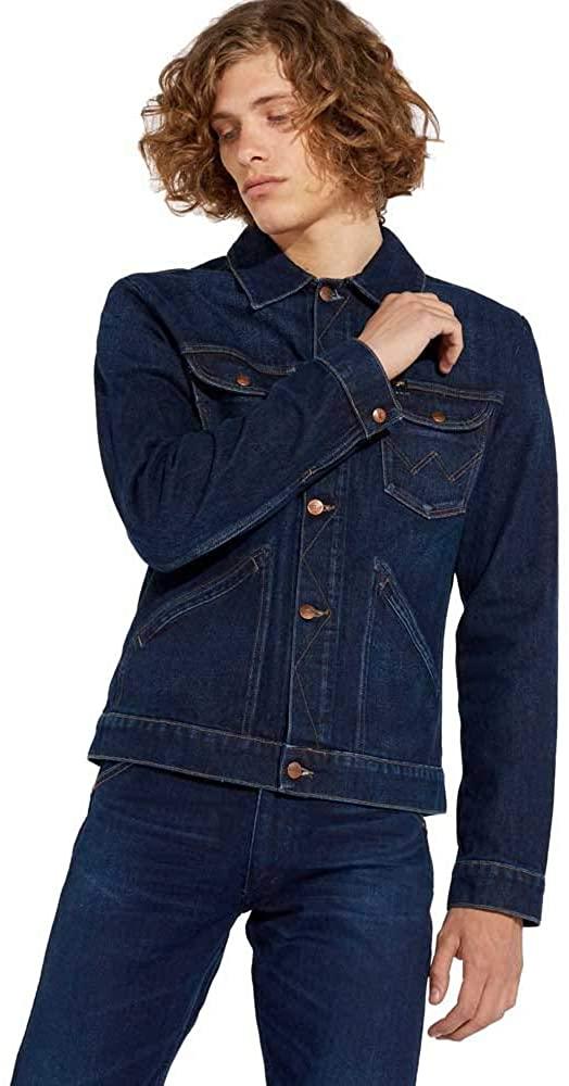Wrangler Mens Western Button Down Cotton Long Sleeve Casual Denim Jacket Top