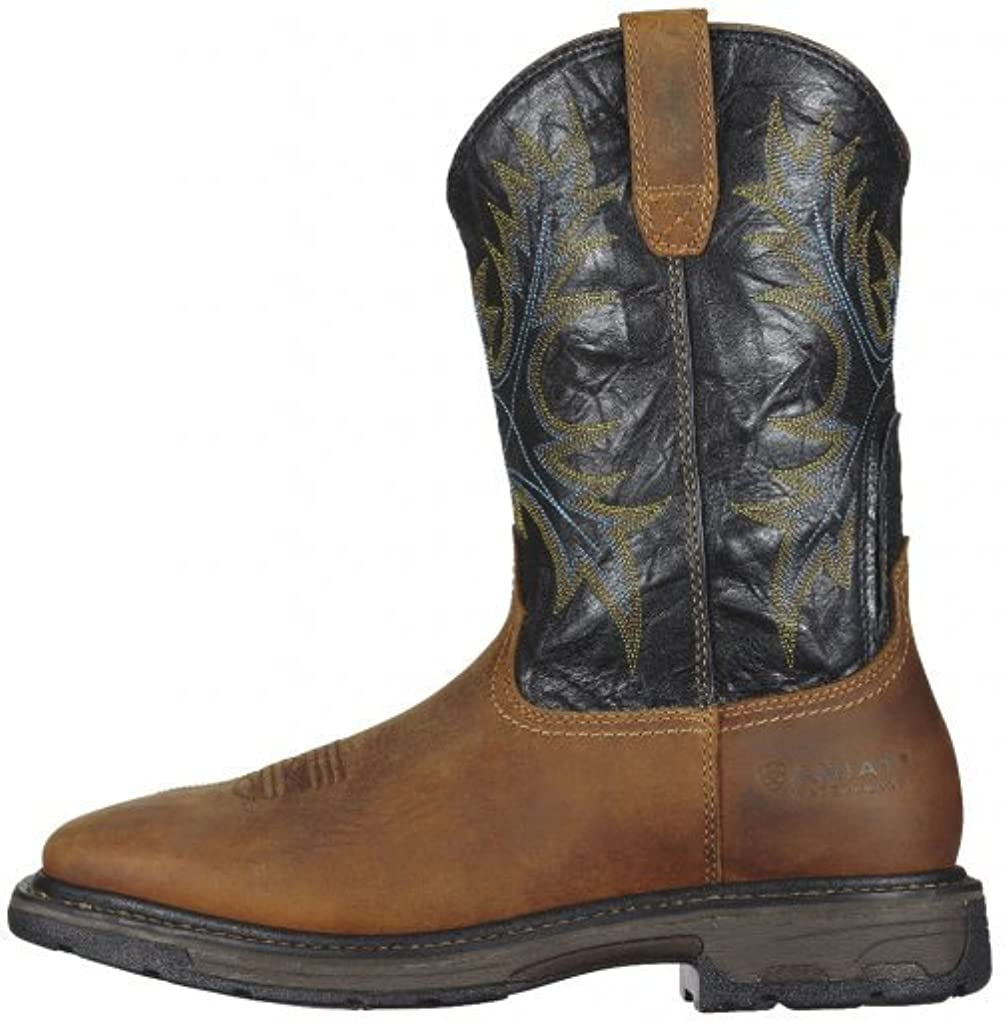 Ariat Men's Workhog Wide Square Toe H2O Work Boot, Aged Bark/Black, 12 2E US