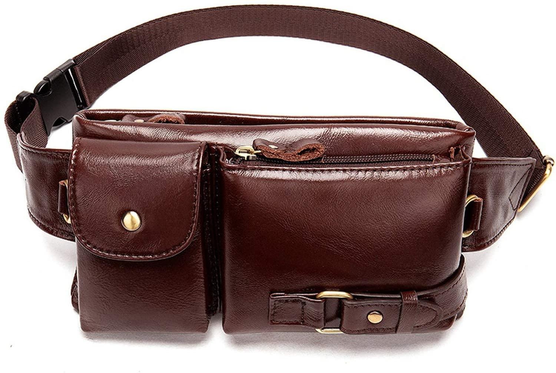 Genuine Leather Men's Waist Bag Travel Fanny Pack Belt Bag Men Waist Pack Phone Messenger for Man Pouch Crossbody Bags,D3redbrown