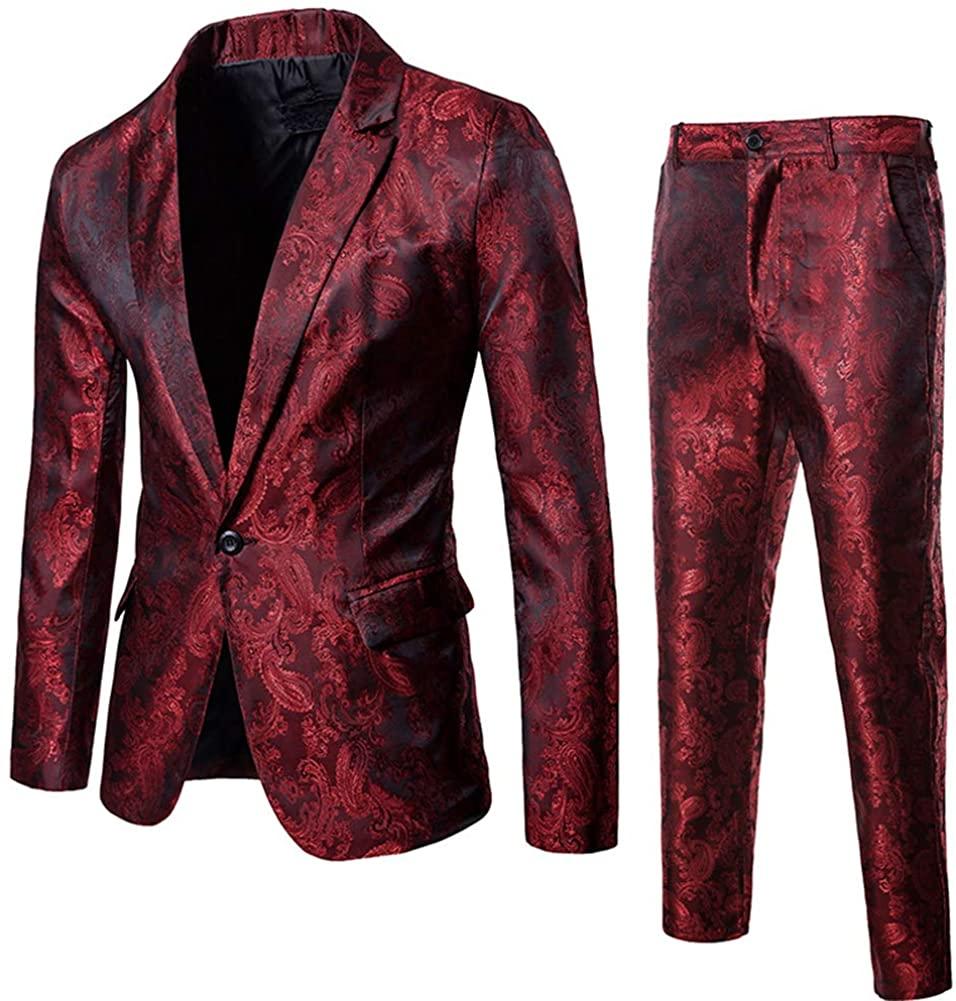 Mens 2 Piece Paisley Dress Suit One Button Party Wedding Blazer Pants Sets