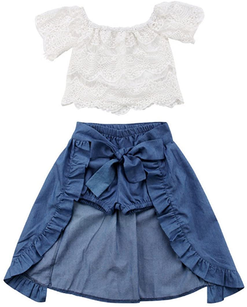 3pcs Girl Lace Off-Shoulder T-Shirt Tops Skirts Shorts Bowknot Denim Party Clothes Set