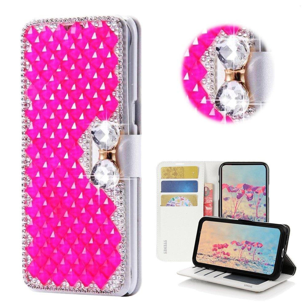 STENES Bling Wallet Case Compatible LG K40 / LG K12 Plus - STYLISH - 3D Handmade Crystal Square Lattice Bowknot Magnetic Wallet Leather Cover Compatible LG K40 / LG K12 Plus - Hot Pink