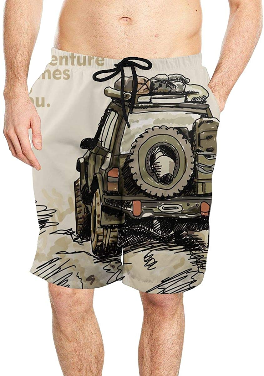 Adventure Off Road Car Men's Summer Travel Comfortable Swimming and Quick-Drying Shorts