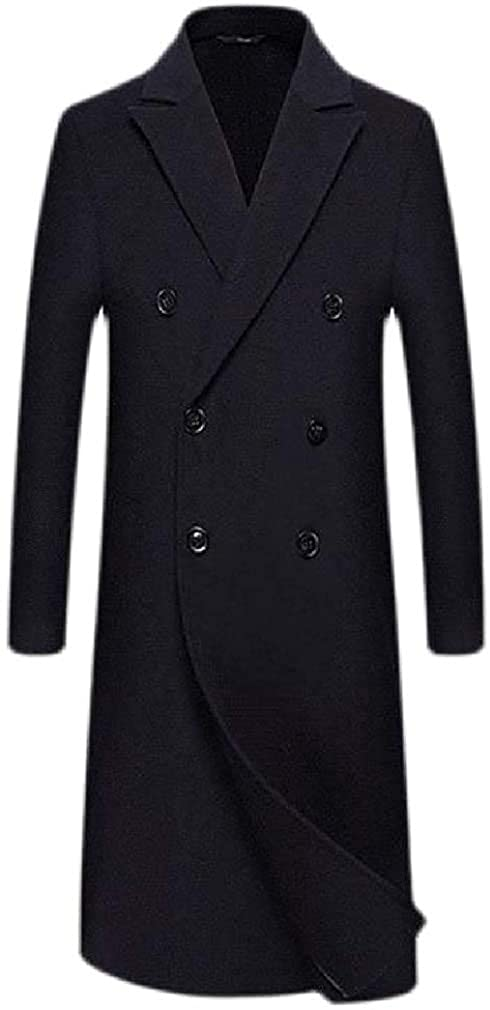 Qhghdgysd Mens Ultimate Thicken Lapel Neck Double Breasted Overcoat Wool Blend Coat Jacket