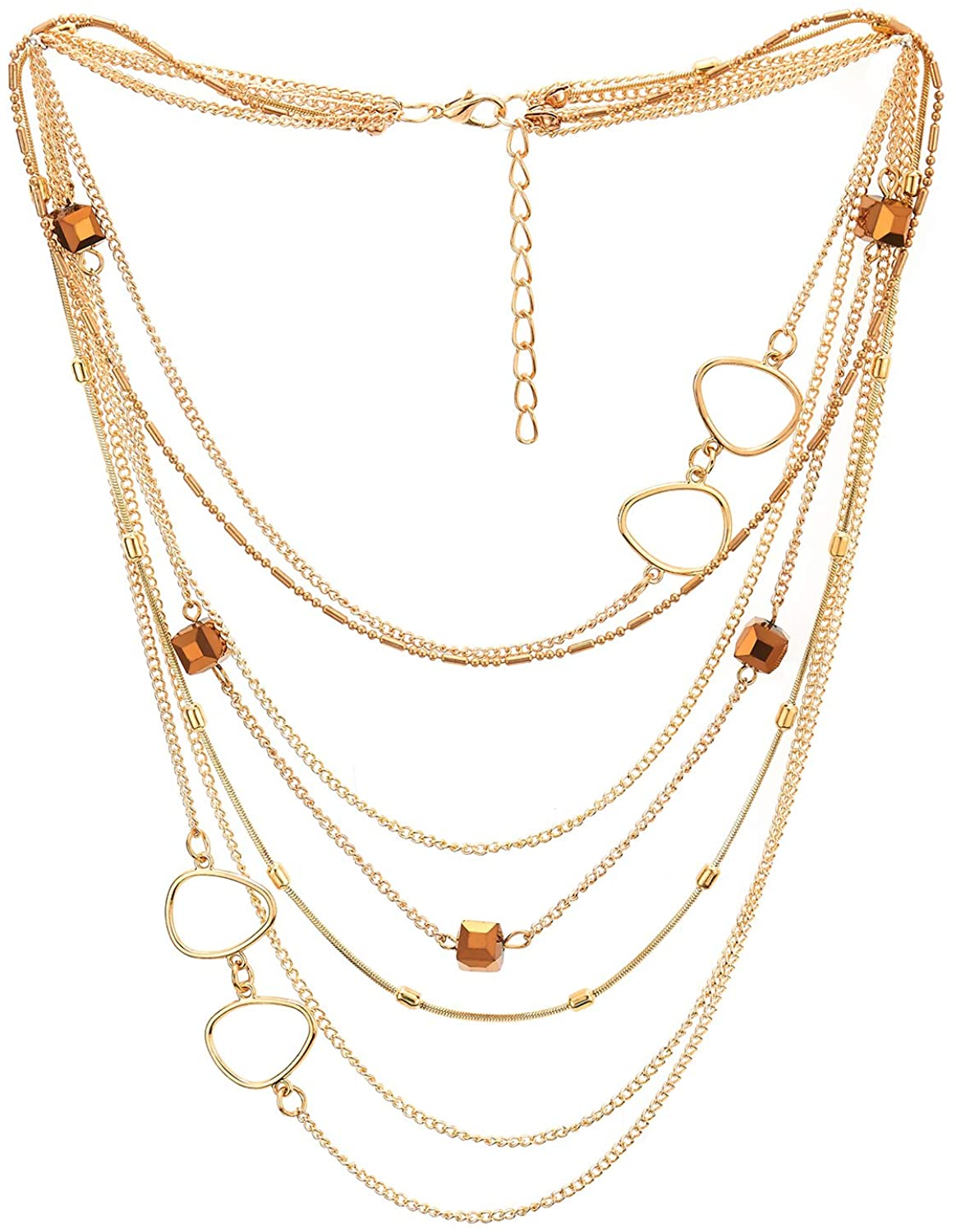 COOLSTEELANDBEYOND Gold Statement Necklace Waterfall Multi-Strand Chain with Cube Crystal Bead and Circle Charm, Dress