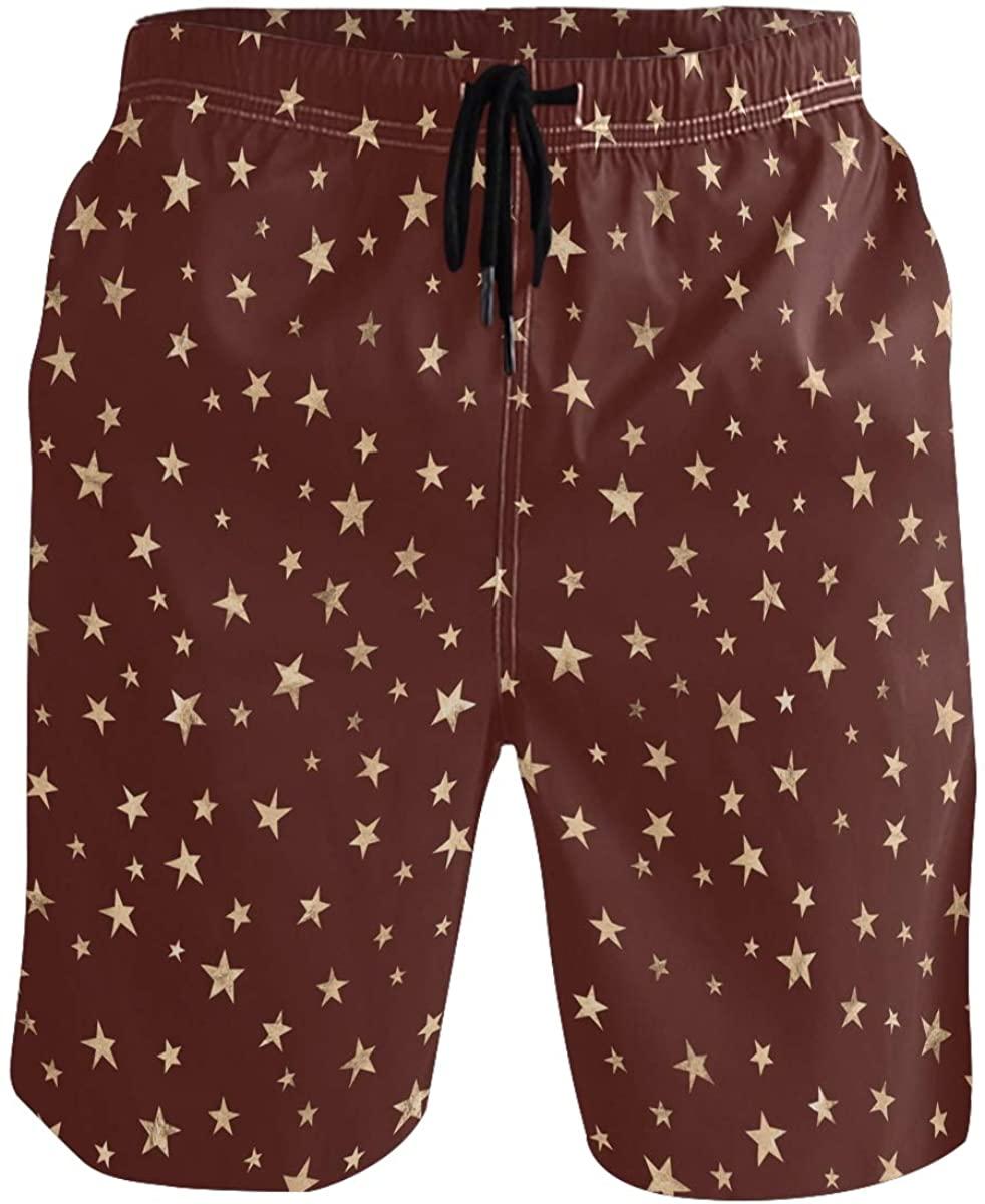 Men's Swim Trunks - Star Red Beach Short Men Quick Dry Elastic Waist Board Shorts