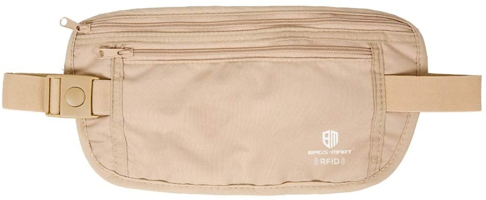 BAGSMART Multi-functional Slim Travel Waist Belt for Men and Women (beige)