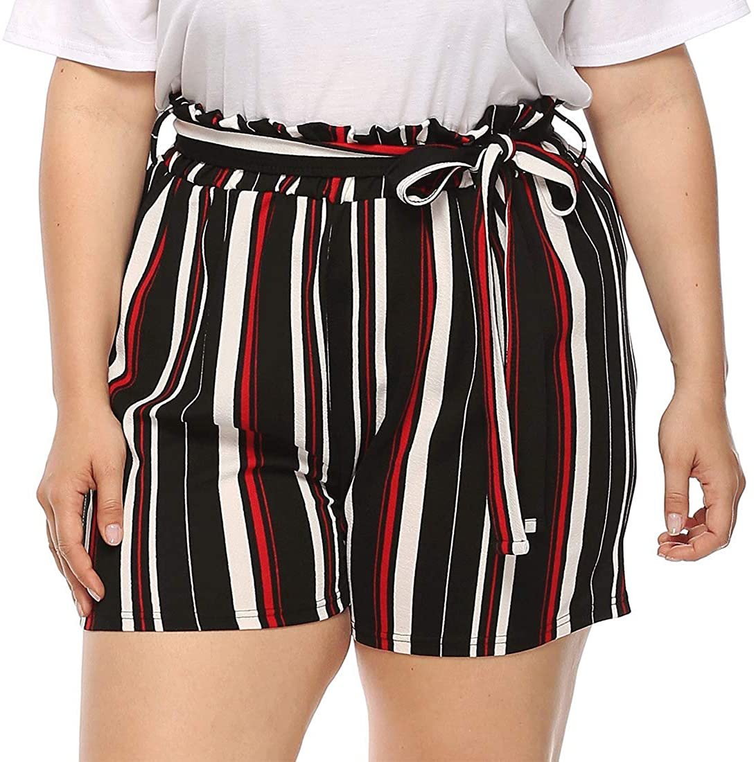 Vcansion Women's Plus Size Shorts Summer Causal Elastic Tie Waist Beach Shorts