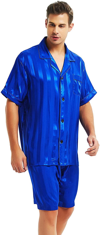 Mens Satin Short Pajamas Set Sleepwear Loungewear S~4XL