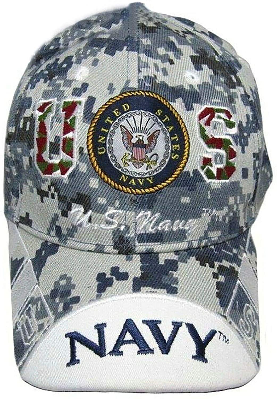 U.S. Navy Emblem Crest Digital Camouflage Camo Embroidered Cap Hat Active Duty Veteran (Licensed)