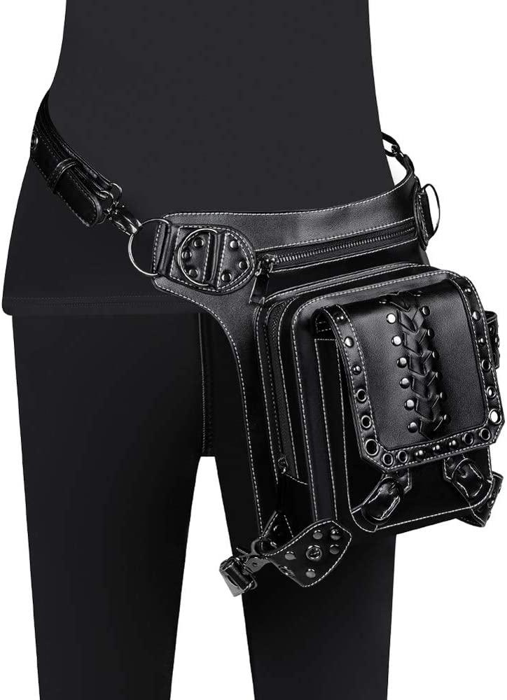 Cool Steampunk Leather Waist Bag Retro Brown Crossbody Bag Rock Men Women Gothic Skulls Fanny Packs Fashion Motorcycle Leg Bags