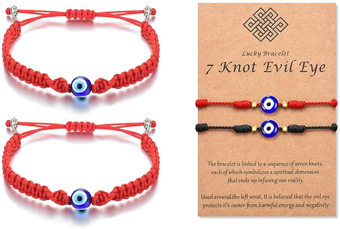 Tarsus Evil Eye 7 Knot Lucky Bracelets Adjustable Red String Amulet for Women Men Kids and Baby